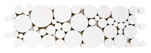 "Reconstituted White Round Mix Mosaic Border 4""x12"""