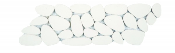 """Reconstituted White Sliced Pebble Mosaic Border 4""""x12"""""""