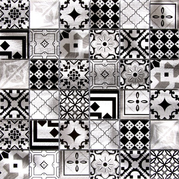 ALUMINUM PATCHWORK DESIGN SILVER BLACK MIX MATTE