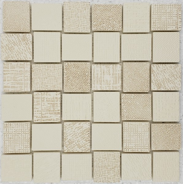 """Basket Weave Fabric Print Patchwork Off White/Beige Mix - Sheet 11.9""""x11.9"""""""