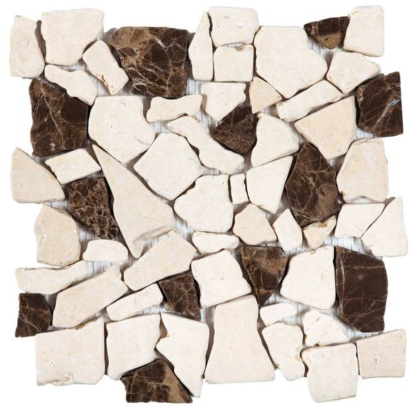 "Beige/Brown Opus Mosaic Interlocking - 12""x12"" Sheet"