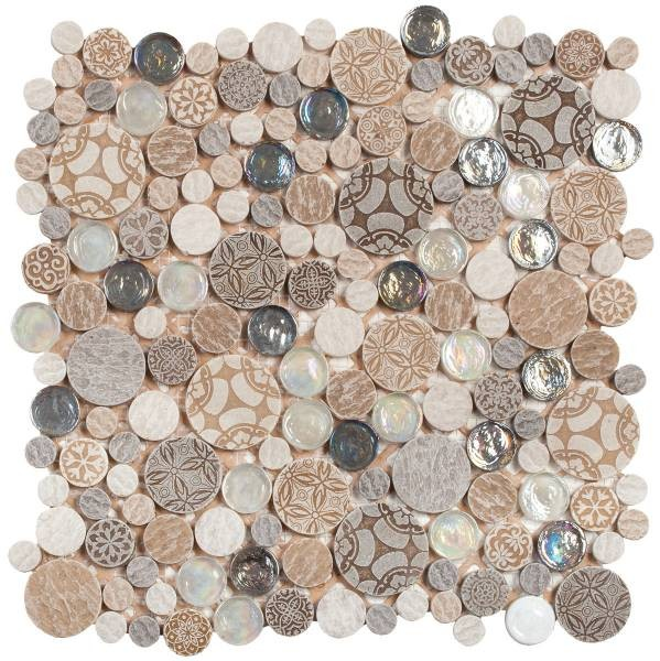 "Beige Penny Round D_cor / Glass Interlocking - 12""x12"" sheet"