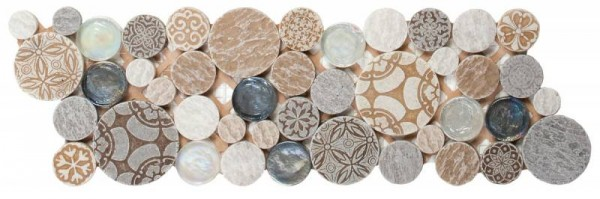 "Beige Penny Round D_cor / Glass Interlocking Border- 4""x12"""