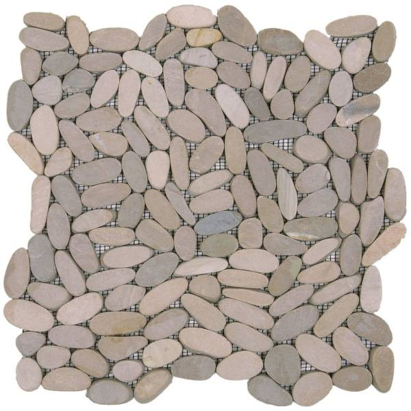"Beige Sliced Matte Pebble Interlocking - 12""x12"" Sheet"