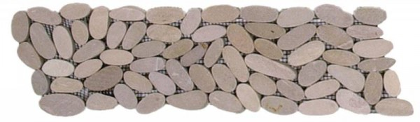 "Beige Sliced Matte Pebble Interlocking Border - 4""x12"""