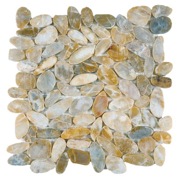 "Beige Sliced Polished Pebble Interlocking - 12""x12"" Sheet"