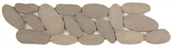 "Beige XL Sliced Matte Pebble Interlocking Border - 4""x12"""