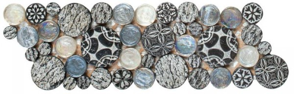 "Black Penny Round D_cor / Glass Interlocking Border- 4""x12"""