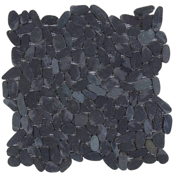 "Black Sliced Matte Pebble Interlocking - 12""x12"" Sheet"