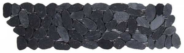 "Black Sliced Matte Pebble Interlocking Border - 4""x12"""