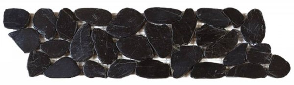 "Black Sliced Polished Pebble Interlocking Border - 4""x12"""