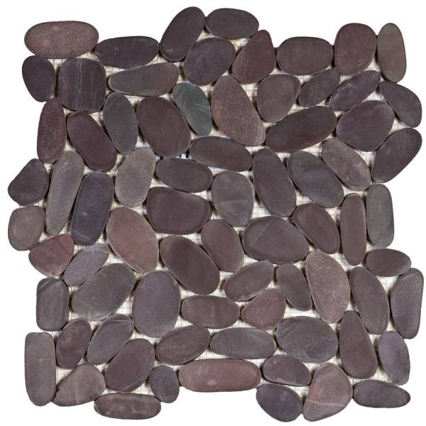 "Brown Sliced Matte Rare Stone Pebble Interlocking - 12""x12"" Sheet"
