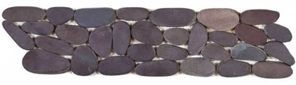 "Brown Sliced Matte Rare Stone Pebble Interlocking Border - 4""x12"""