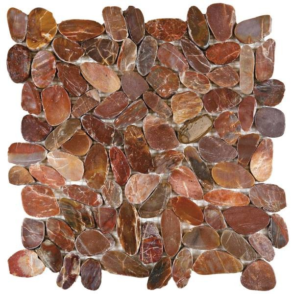 "Brown Sliced Polished Pebble Interlocking - 12""x12"" Sheet"