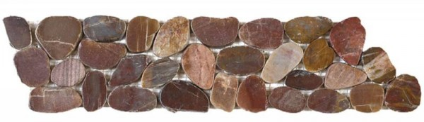 "Brown Sliced Polished Pebble Interlocking Border - 4""x12"""