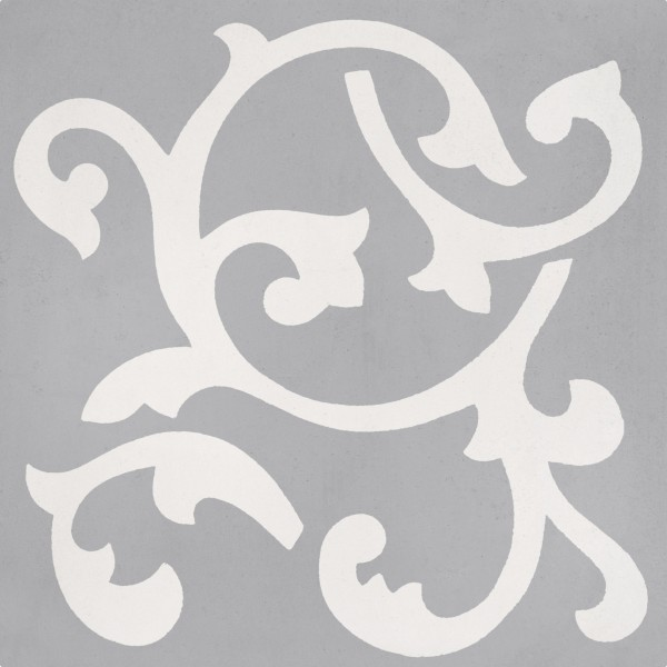 CEMENT TILE CLASSIC DÉCOR 10 CURVES OFF WHITE OVER GREY