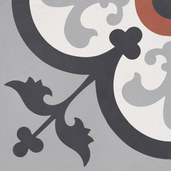 CEMENT TILE CLASSIC DÉCOR 14 BLACK GREY RED OFF WHITE