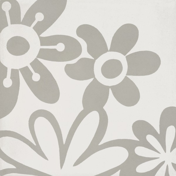 CEMENT TILE DÉCOR 10 MODERN FLOWER OFF WHITE GREY