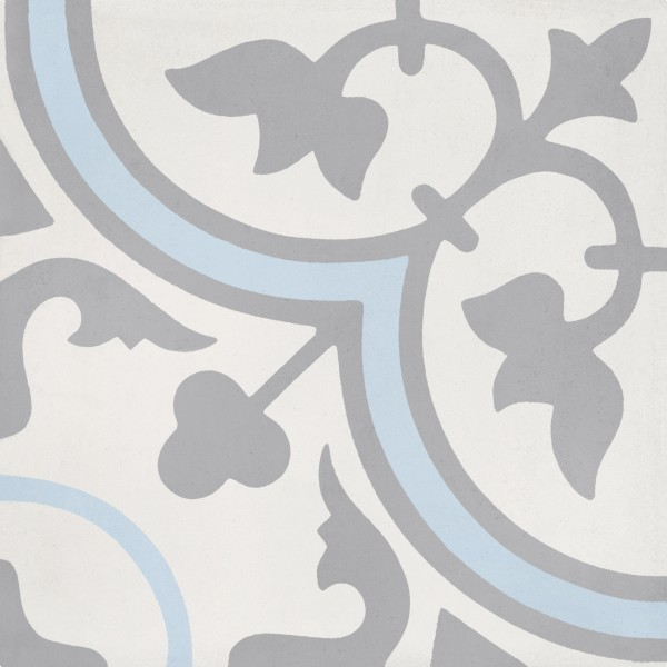 Cement tile d cor 5 classic off white dark grey blue for Blue and white cement tile