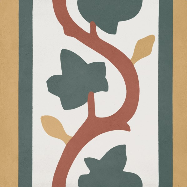CEMENT TILE DÉCOR 8 CLASSIC LEAF OFF WHITE YELLOW GREEN RED