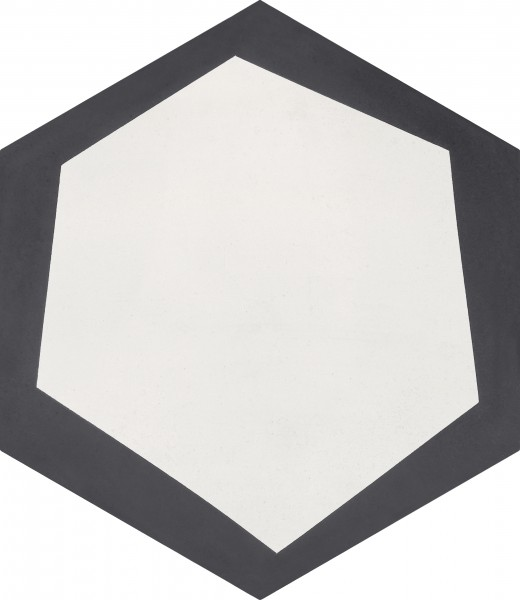 CEMENT TILE HEXAGON DÉCOR 2 MODERN ANTRACITE OFF WHITE