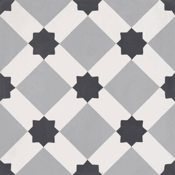 CEMENT TILE MODERN DÉCOR 16 GEOMETRIC BLACK GREY OFF WHITE