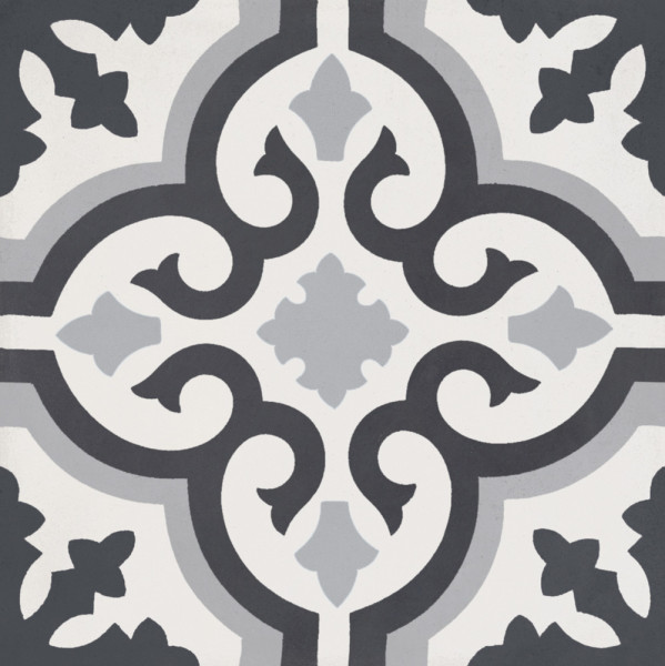 """Classic Off White Anthracite Grey Mix Pattern Decor Cement Tile 8""""x8"""""""