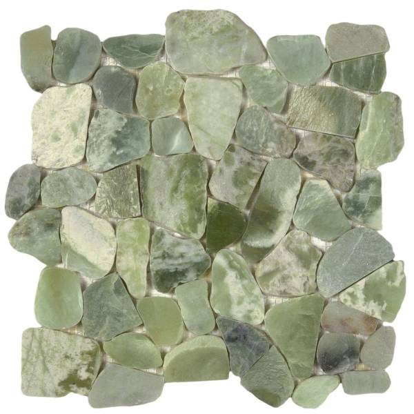 "Crystal Green Semi-Precious Stone Mosaic Interlocking - 12""x12"" Sheet"