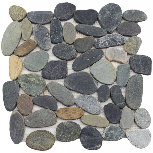 "Dark Sliced Matte Pebble Interlocking - 12""x12"" Sheet"