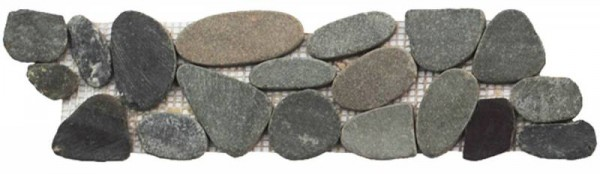 "Dark Sliced Matte Pebble Interlocking Border - 4""x12"""