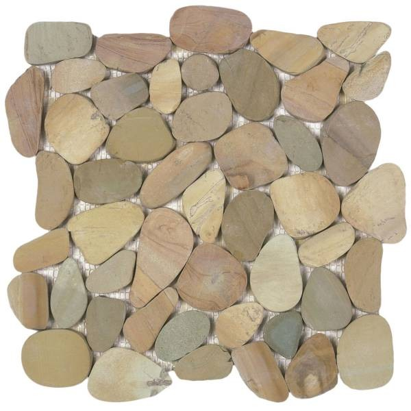 "Mix Golden Sliced Matte Pebble Interlocking - 12""x12"" Sheet"