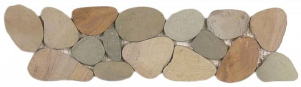 "Mix Golden Sliced Matte Pebble Interlocking Border - 4""x12"""