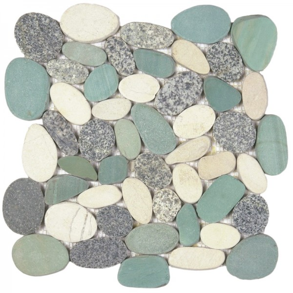 "Mix Grey Green White XL Sliced Matte Pebble Interlocking - 12""x12"" Sheet"