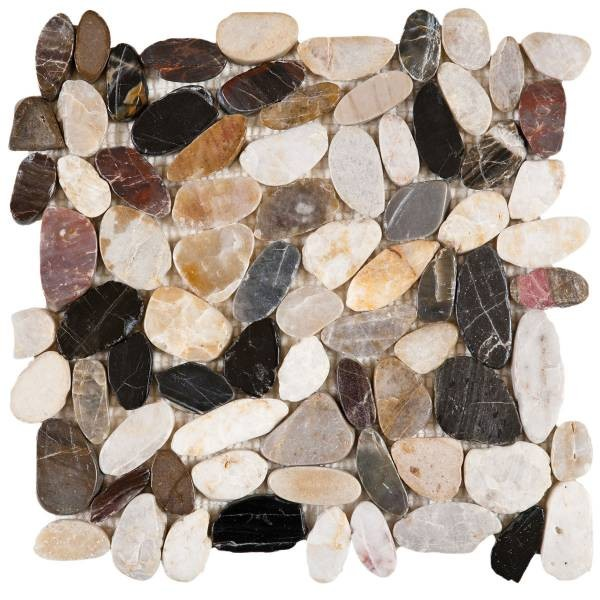 "Mix Sliced Polished Pebble Interlocking - 12""x12"" Sheet"