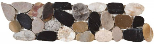 "Mix Sliced Polished Pebble Interlocking Border - 4""x12"""