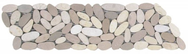 "Mix White/Beige Sliced Matte Pebble Interlocking Border - 4""x12"""