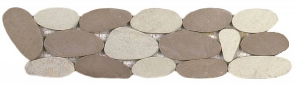 "Mix White/Beige XL Sliced Matte Pebble Interlocking Border - 4""x12"""