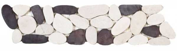 "Mix White/Brown Sliced Matte Pebble Interlocking Border - 4""x12"""