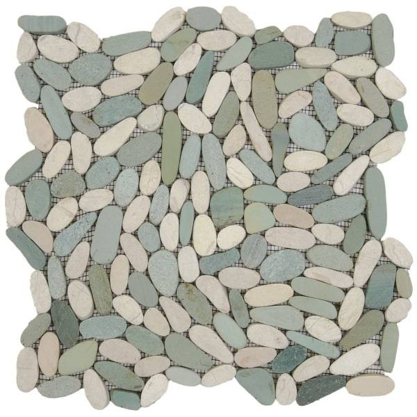 "Mix White/Green Sliced Matte Pebble Interlocking - 12""x12"" Sheet"