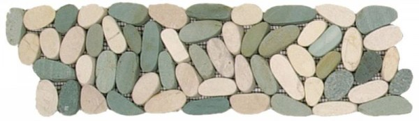 "Mix White/Green Sliced Matte Pebble Interlocking Border - 4""x12"""