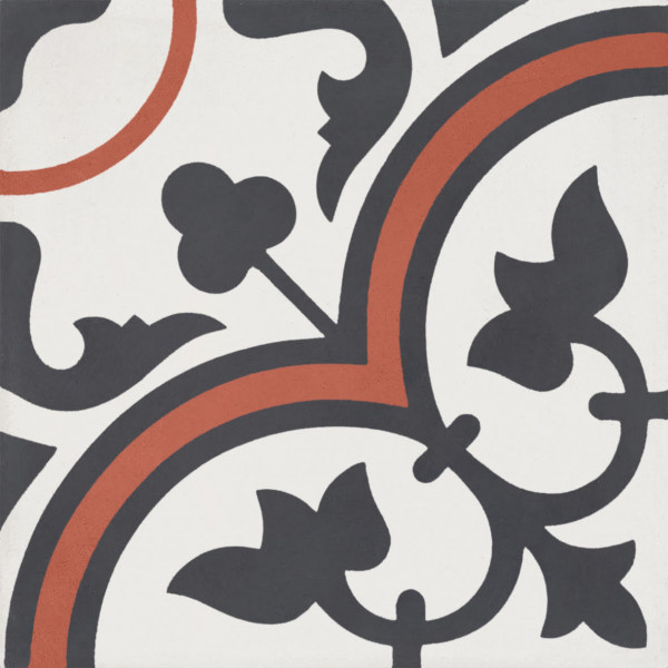 """Modern White with Black and Red Decor Cement Tile 8""""x8"""""""
