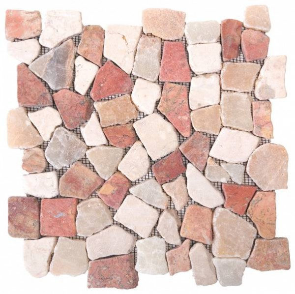 "Onyx White/Red Opus Mosaic Interlocking - 12""x12"" Sheet"