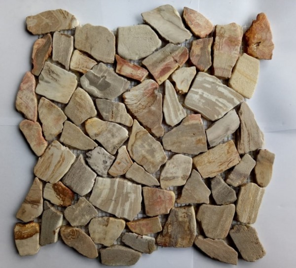 "Fossil Wood Stone Beige Brown Mix - Sheet 12.6""x12.6"""