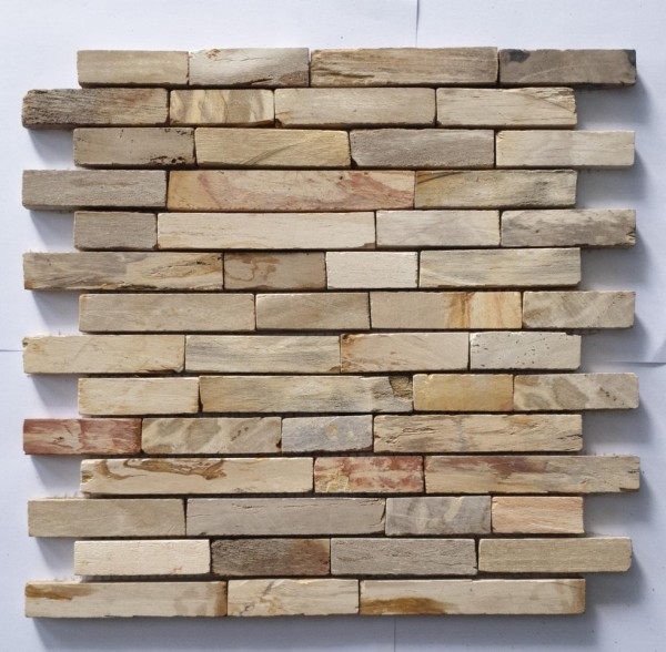 "Fossil Wood Baguette Mix Beige Mosaic  - Sheet 13""x11.8"""