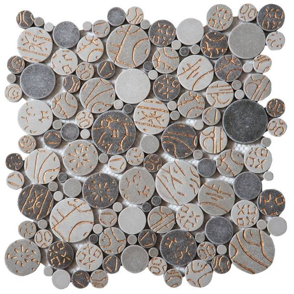 """Taupe Gold Penny Rounds Interlocking - Sheet 12""""x12"""""""