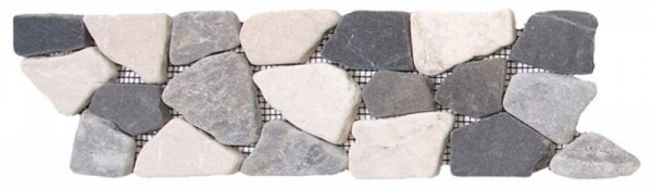 "White/Grey/Black Opus Mosaic Interlocking Border - 4""x12"""