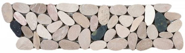 "White/Pink/Beige/Black Sliced Matte Pebble Interlocking Border - 4""x12"""