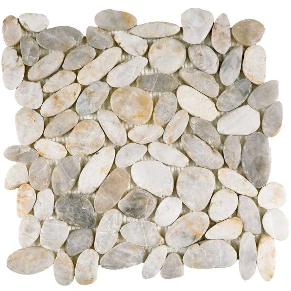 "White Sliced Polished Pebble Interlocking - 12""x12"" Sheet"