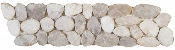 "White Sliced Polished Pebble Interlocking Border - 4""x12"""