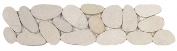 "White XL Sliced Matte Pebble Interlocking Border - 4""x12"""